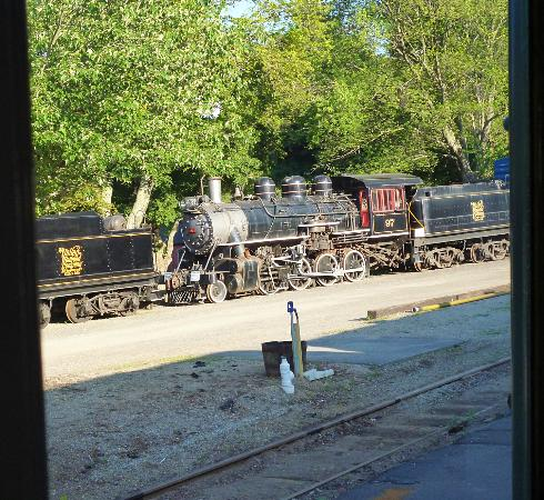 Essex, CT: View at the station of an old steam engine