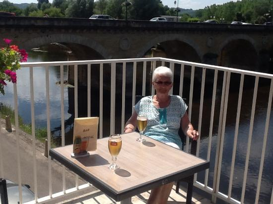 Royal Vézère : On the veranda of the hotel over looking the river.