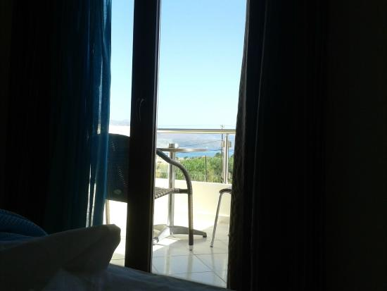 Theros Hotel: View from the bedroom towards the balcony