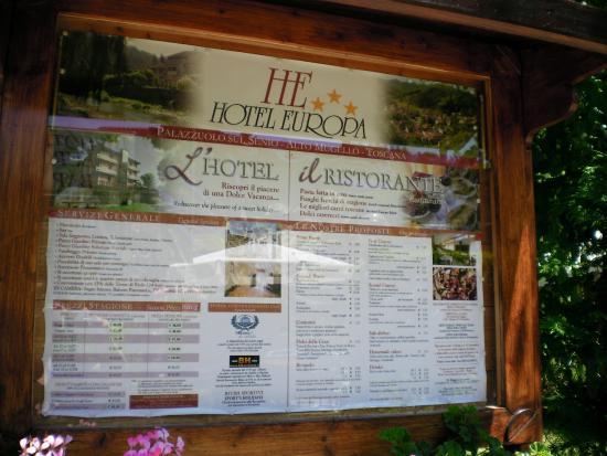 Hotel Ristorante Europa: Locandina -prezzi al ingresso del area del Hotel Ristorante