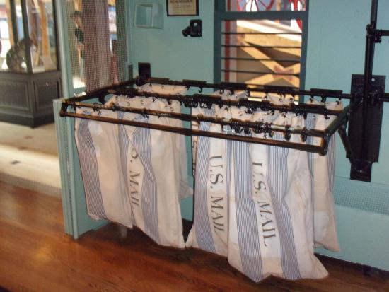 Columbia: mail bags in rail car {train ] in Posal museum