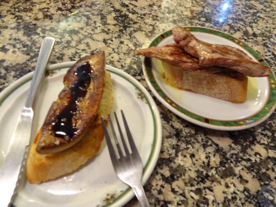 los Zarcillos : Montadito de fois gras poêlé et montadito de steak