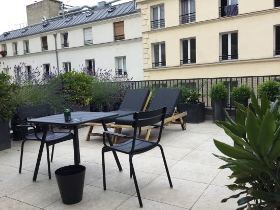 la terrasse de la chambre 308 picture of hotel eugene en ville paris tripadvisor. Black Bedroom Furniture Sets. Home Design Ideas