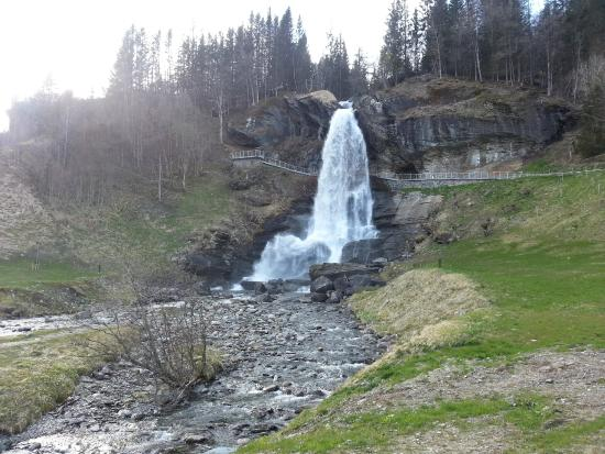 Steinsdalsfossen Waterfall : View of waterfall and walkway behind, taken from the foot of the waterfall. (May 2015)