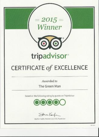 The Green Man: We are proud to announce we have been awarded a certificate of excellence