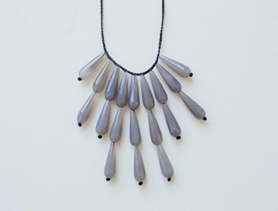 fourTWELVE: Ann Lightfoot drape necklace with faceted gray onyx.
