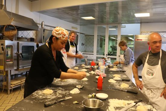 Cooking School La Cucina del Gusto by Chef Carmen: Making pizza dough.