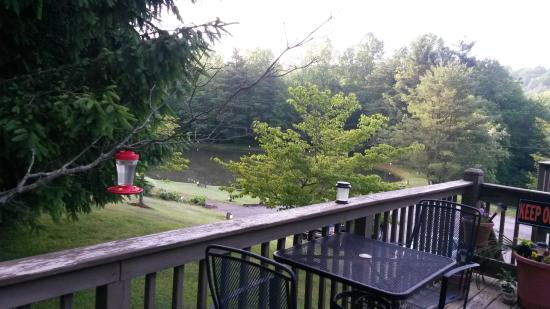 Woodberry Inn: View of the pond from the outdoor patio