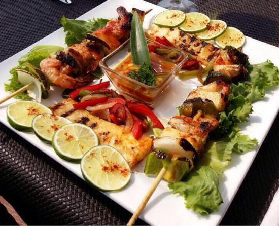 Shrimp caribbean kebabs picture of big fish seafood for Big fish seafood bistro