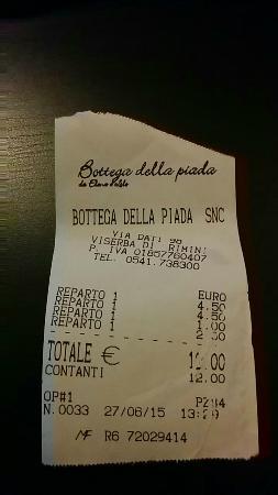Viserba, Itália: Scontrino
