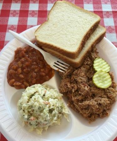 Grillmaster : The BBQ pork plate with slaw & BBQ beans, served with bread for $9.75