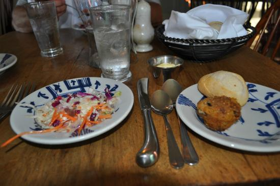 Christiana Campbell's Tavern-Colonial Williamsburg: Complimentary Bread and Vinegar Cole Slaw