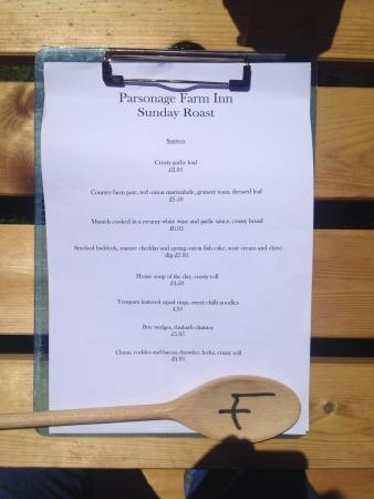 Parsonage Farm Inn: Starters