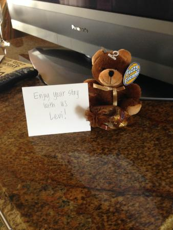 The San Luis Resort: VIP treatment (my 2 yr old is named Levi...all the other kids got one too, even bigger ones!) :)