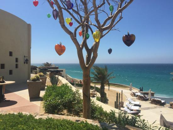 Hand Crafted Glass Hearts Around The Resort Hung From