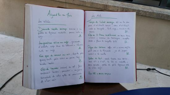 Mas de l'Amarine: The restaurants Menue