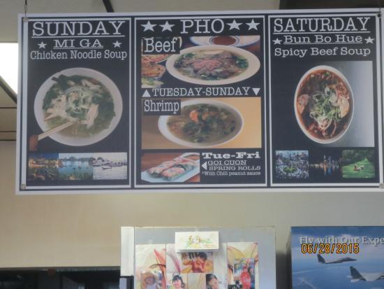 Pho 501: limited menu