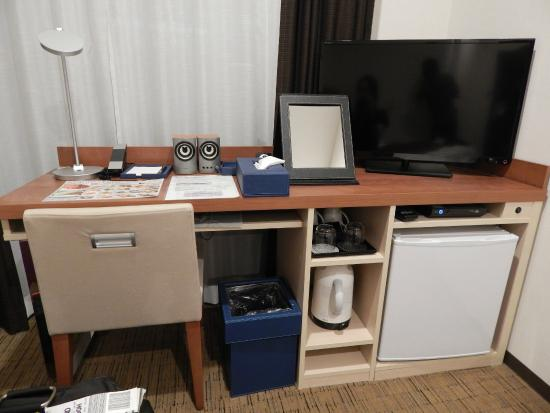 desk with speakers tv kettle fridge etc picture of hotel