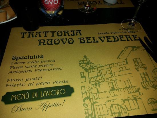 Trattoria Nuovo Belvedere : tovaglietta