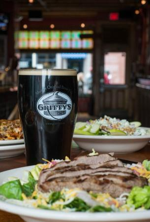 Gritty Mc Duff's Brewing Co: Steak and Black Fly Stout.