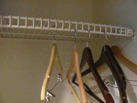 Millennium Buffalo: Cheaply done closet. Shelf ok but need rod to hang things.