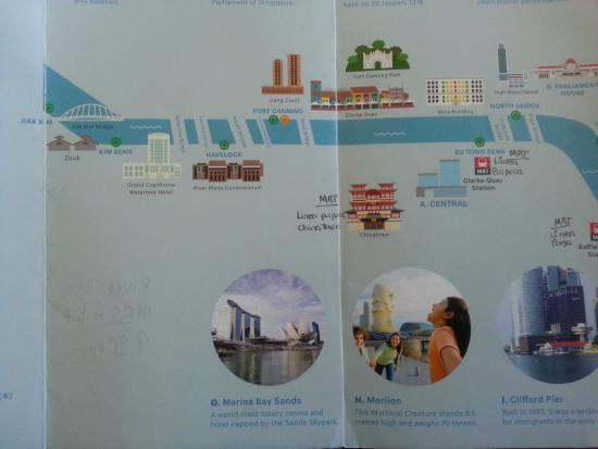 River Explorer Singapore- Day Tours: Parte 1.  Los puntos de embarque estan senalados con un circulo verde.