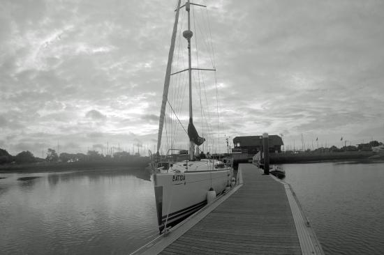 First Class Sailing: Batida at the waiting pontoon , Chichester marina