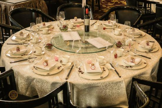 A wedding banquet setup at Grand Imperial London