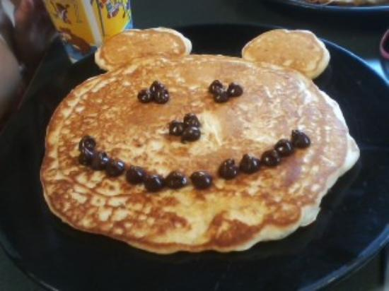 "DJ's North Woods Family Restaraunt: ""Mickey Mouse Pancake"" A childrens favorite topped with chocolate chips."