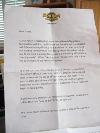 Letter about air conditioning - Picture of Hard Rock Hotel