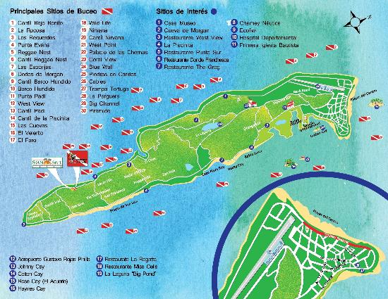 Map of San Andres - Picture of Sunset Hotel, San Andres Island ... Isla Map Of Hotels on