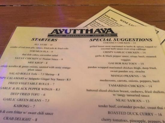 Menu picture of ayutthaya thai restaurant seattle for Ayutthaya thai cuisine bar