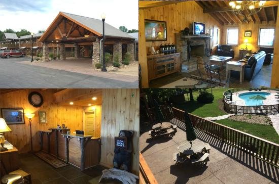 The Smoke House Lodge & Cabins: The Smoke House Lodge Lobby, Great Room, Registration, and View of the back Campus.