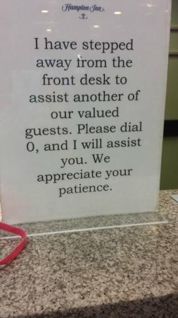 Hampton Inn Waynesboro / Stuarts Draft : You can dial 0, but they won't assist you!