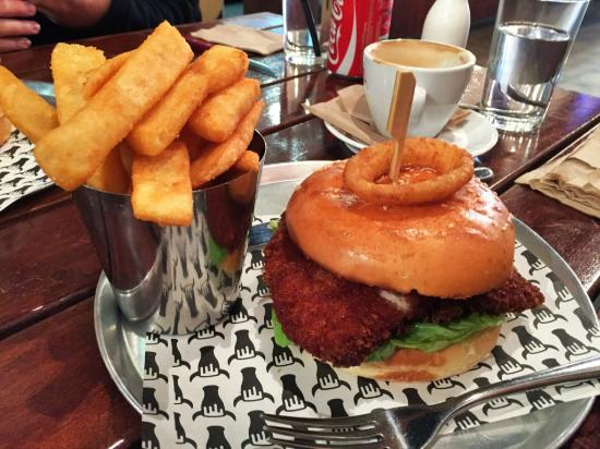 Chicken Burger With Chips Picture Of Beer Burger Bar Richmond Tripadvisor