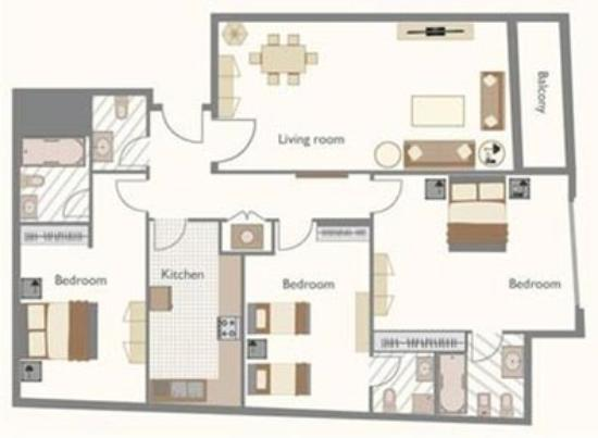 2 bedrooms apt floor plan - picture of time topaz hotel apartments