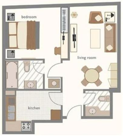 One bedroom floor plan picture of time opal hotel for Apartment hotel plans