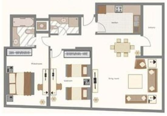 Two bedrooms floor plan picture of time opal hotel for Hotel bedroom layout design