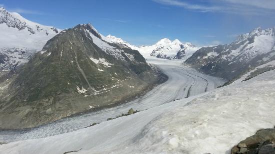Hotel Park : Blick vom Eggishorn auf Aletschgletscher und Jungfrau