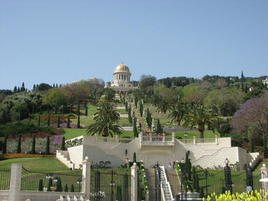 Terrasses baha'ies : Bahai gardens Haifa - view from the bottom. This picture is from our previous trip in April 201