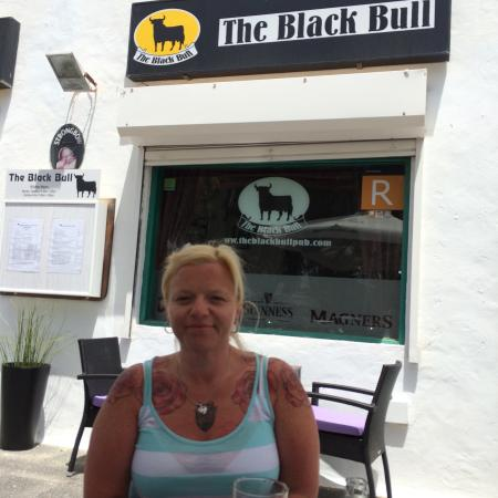 The Black Bull : Hayley on our last day at our favourite bar .