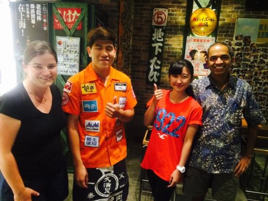 Kanpai: With Debbie and staff.