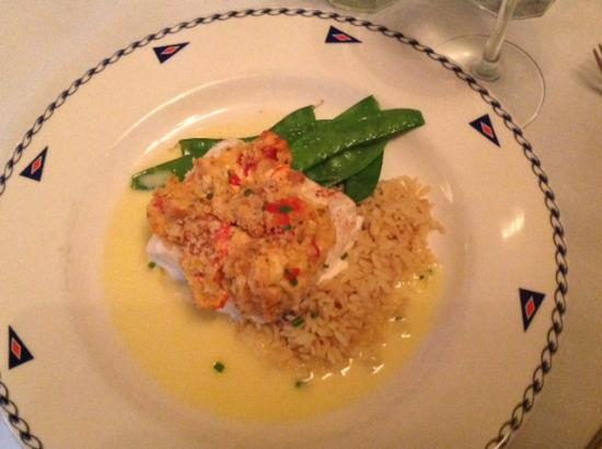 The American Hotel Restaurant: Halibut topped with Deviled Lobster