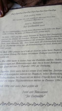 Hotel & Restaurant Zur Lochmuehle: Die Geschichte des Hauses