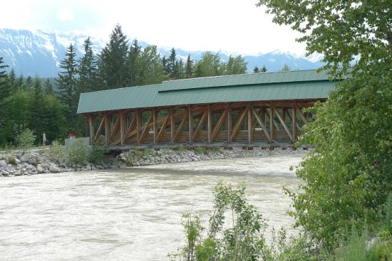 Kicking Horse Pedestrian Bridge: Kicking Horse River flowing very fast.