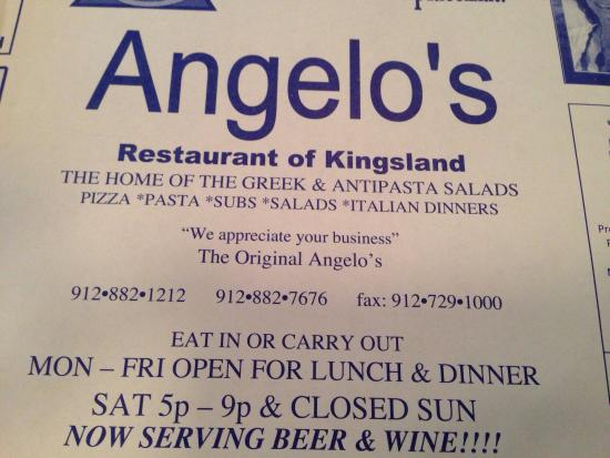 Angelos of Kingsland: Menu