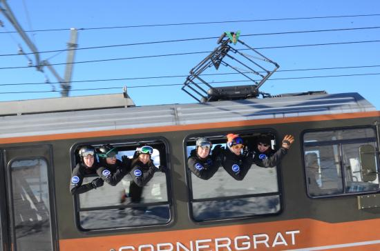 European Snowsport Zermatt Ski School: The Zermatt team hang out of the Gornergrat Train