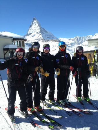 European Snowsport Zermatt Ski School: Instructors go off for a ski together making the most of the great conditions in Zermatt