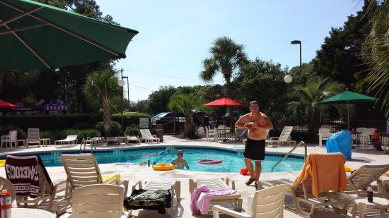 Red Roof Inn Myrtle Beach Hotel - Market Commons: my 2 nephews around the pool