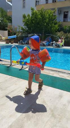 Ekin Hotel: He just loved the pool!!!